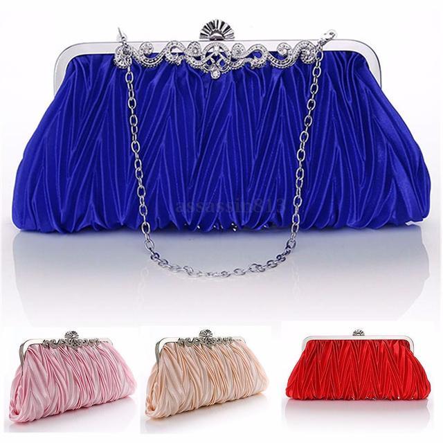 Maximum supplier Women Lady Party Prom Satin Crystal Bridal Handbag Clutch Wedding Evening Bag