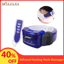 Electric Pulse Neck Massager Magnets Infrared Heating Pain Relief Cervical Physiotherapeutic Tool Body Relaxation Health Care electric cervical vertebra massager handheld hammer infrared heating shiatsu shoulder back neck massager full body relaxation