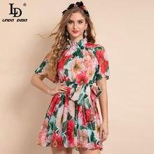 LD LINDA DELLA New 2021 Fashion Runway Summer Mini Dress abito da donna in Chiffon con stampa floreale a maniche corte in vita elastica