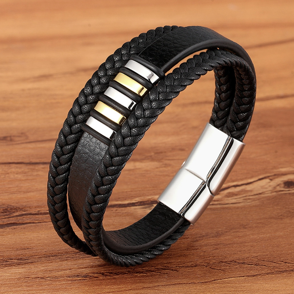 Multi-layer 4 colors Selection Hand-woven Accessories Combination Men's Stainless Steel Leather Bracelet Valentine's Day Gift