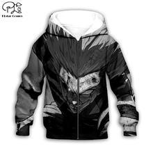 Аниме персонаж черный 3d толстовки пальто на молнии с длинным