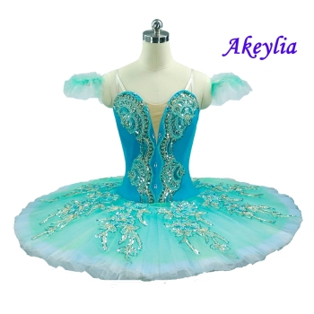 Aqua Blue Professional Ballet Tutu Women Nutcracker Fairy Doll Ballet Stage Costumes Pink Sleeping Beauty Pancake Tutu For kids fairy princess professional tutu pink women ballet pancake costume blue platter pancake bellrina pink white tutu for child