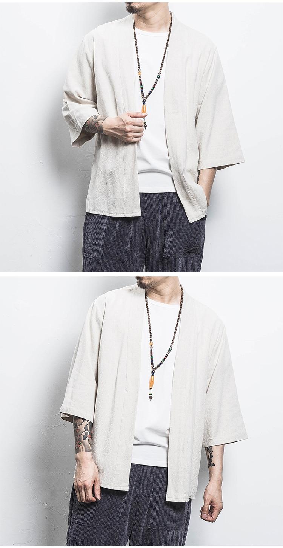 H48134d4c8bd14f63a01f8118b67df626s Drop Shipping Cotton Linen Shirt Jackets Men Chinese Streetwear Kimono Shirt Coat Men Linen Cardigan Jackets Coat Plus Size 5XL