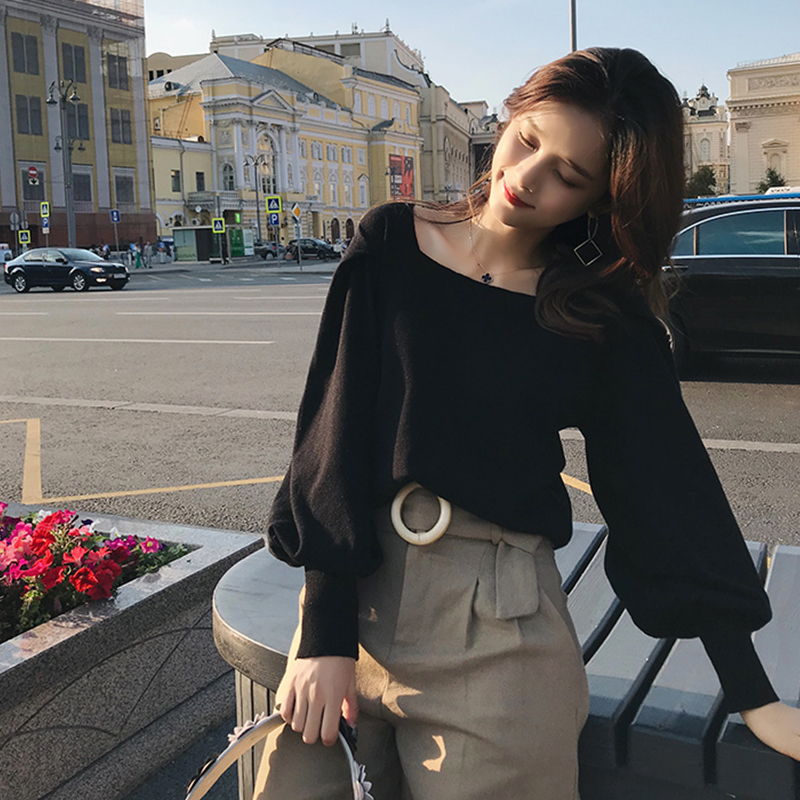 2019 MISHOW Autumn Vintage Knitted Sweater For Women Fashion Causal Square Collar Lantern Sleeve Short Tops MX18C5196
