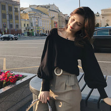 2019 MISHOW Autumn vintage Knitted sweater for women fashion causal Square collar Lantern sleeve short tops MX18C5196(China)
