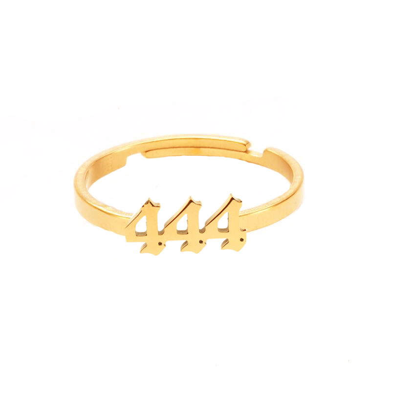 Lucky 111 222 333 444 555 777 888 999 666 Rings Stainless Steel Angel Number Ring Adjustable Finger Rings Minimalist Jewelry