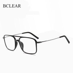 Image 1 - Bclear 超軽量正方形 ultem 眼鏡ダブルビームメガネフレーム男性と女性のモデル潮ビッグフェイス快適な