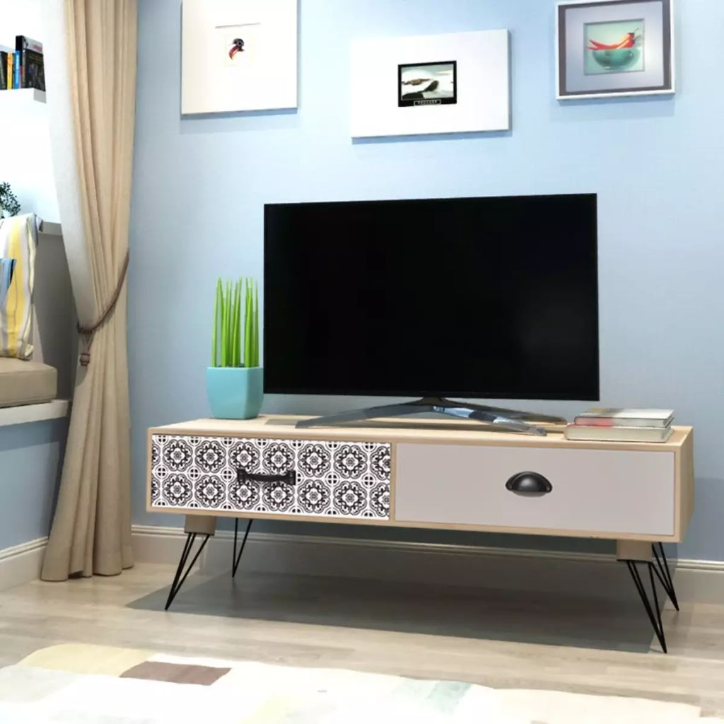 Retro Tv Stand Table TV Side Table In Living Room Home Furniture High Quality MDF TV Tables Steel Legs Durable Brown 100x40x35