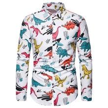 HEFLASHOR Cartoon Dinosaur Pinted Shirts Men Casual Button Down Linen