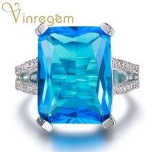 Vinregem Branded 925 Solid Sterling Silver Aquamarine Gemstone Birthstone Wedding Engagement Ring Fine Jewelry Wholesale