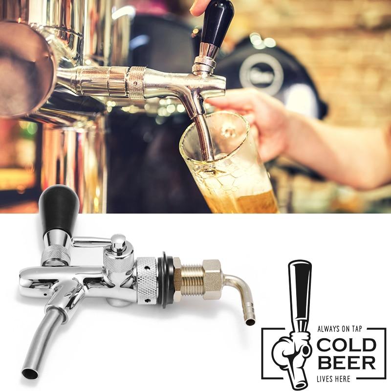 G5/8 Stainless Steel Draft Beer Faucet Adjustable Kegerator Shank with Flow Controller Tap Dispenser Barware Homebrew Tools