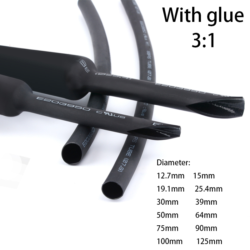 Heat Shrink Tube With Glue 3:1 Thickened  Tube Insulation Waterproof And Environmentally Friendly Double Wall 1.22meter