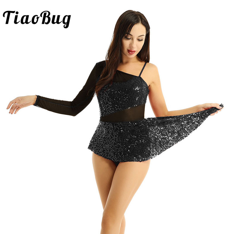 TiaoBug Adult Sequins Single Long Sleeve Gymnastics Leotard Women Ballet Figure Skating Dress Competition Lyrical Dance Costumes