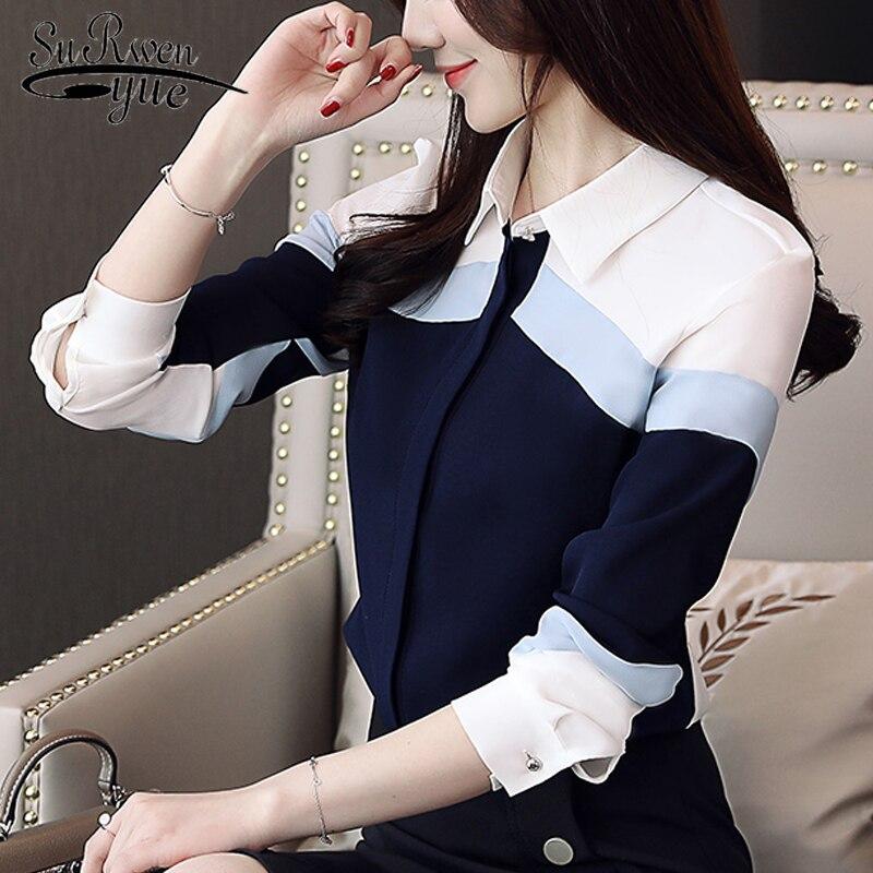Feminine Blouses 2020 Long Shirt Women Women Tops Chiffon Shirt Striped Casual Office Ladies Women Shirt Turn-down Collar 5302