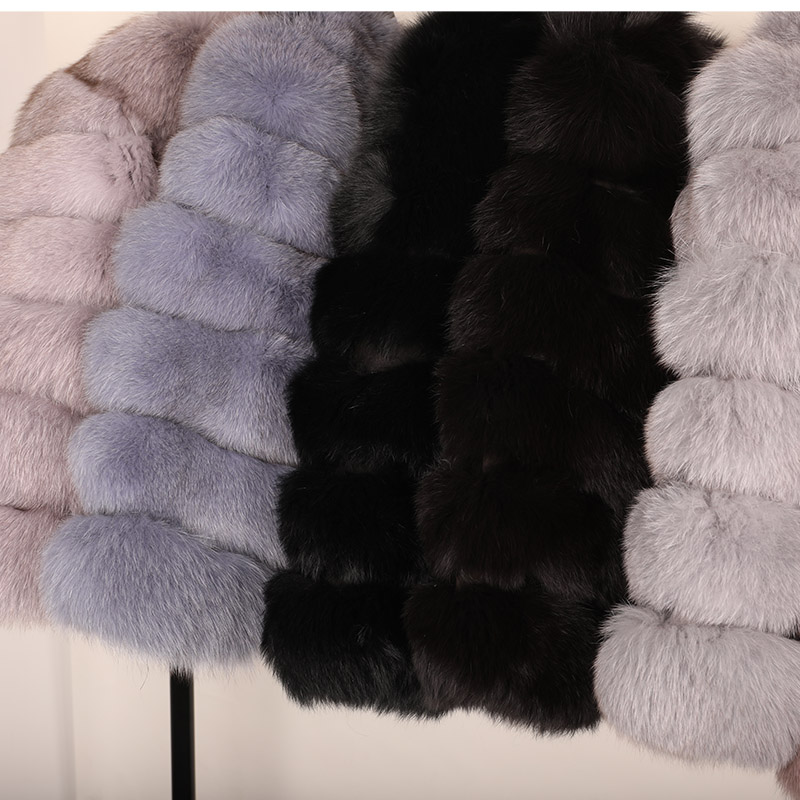 maomaokong 50CM Natural Real Fox Fur CoatWomen Winter natural fur Vest Jacket Fashion silm Outwear Real Fox Fur Vest Coat Fox 24