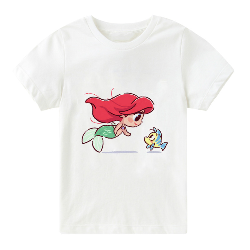 <font><b>Kids</b></font> Kawaii Mermaid and Elf <font><b>Best</b></font> <font><b>Friend</b></font> Print Cartoon Girls Tops Summer Children's Clothes Princess T-<font><b>shirt</b></font>,bal107 image