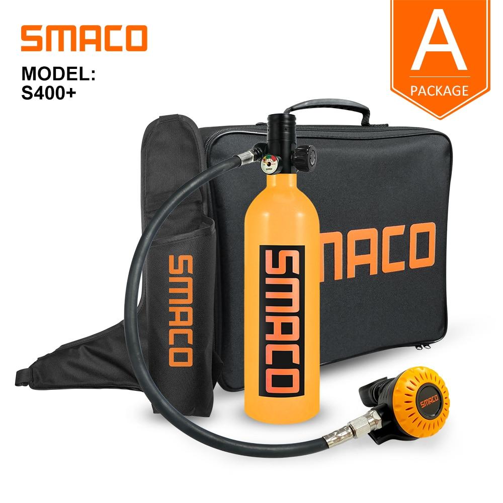 Smaco Scuba Diving Tank Mini Scuba Dive Cylinder 1L Oxygen Tankbox Snorkeling Respirator  S400 Plus SUIT Set Underwater 15 Min