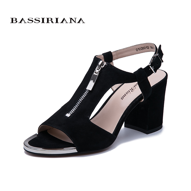 Bassiriana2020 new   leather   women   suede   shoes, Ladies summer high heels sandals with ankle strap and zipper