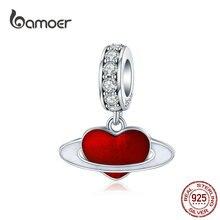 Pendant Necklace Making-Bracelet Planet Heart Charm BAMOER Enamel Jewelry Silver 925