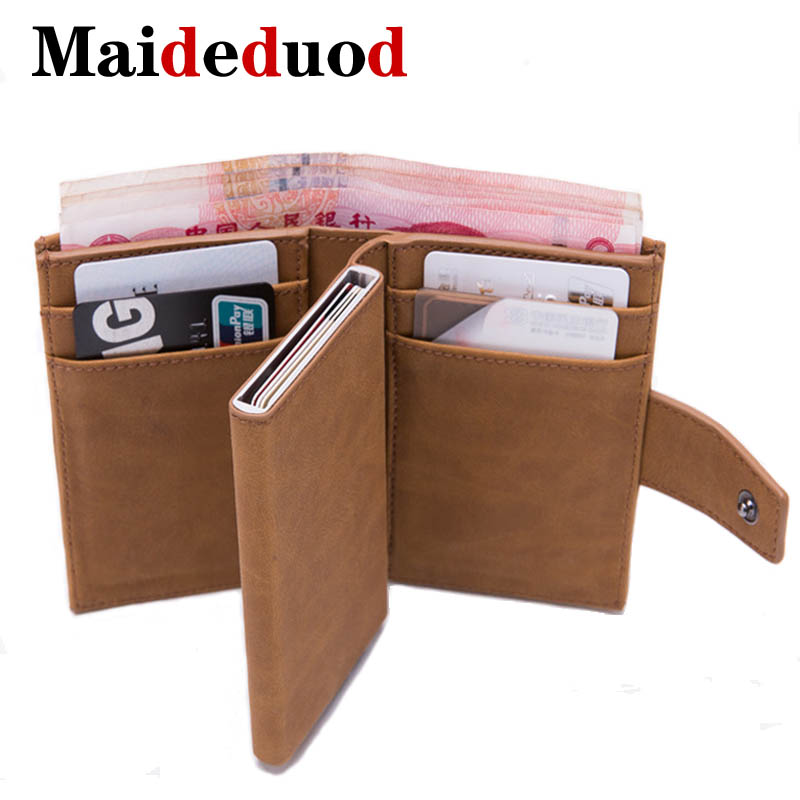 2019 HOT SALE Mini Credit Card Holder Men And Women Metal RFID Vintage Aluminium Box Crazy Horse PU Leather Fashion Card Wallet