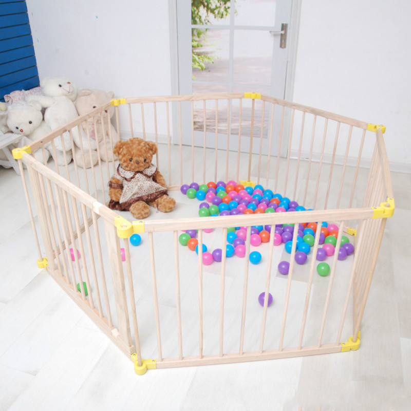 Child Play Fence Infant Crawling Mat Guardrail Baby Toddler Fence Solid Wood Folding Security Fence