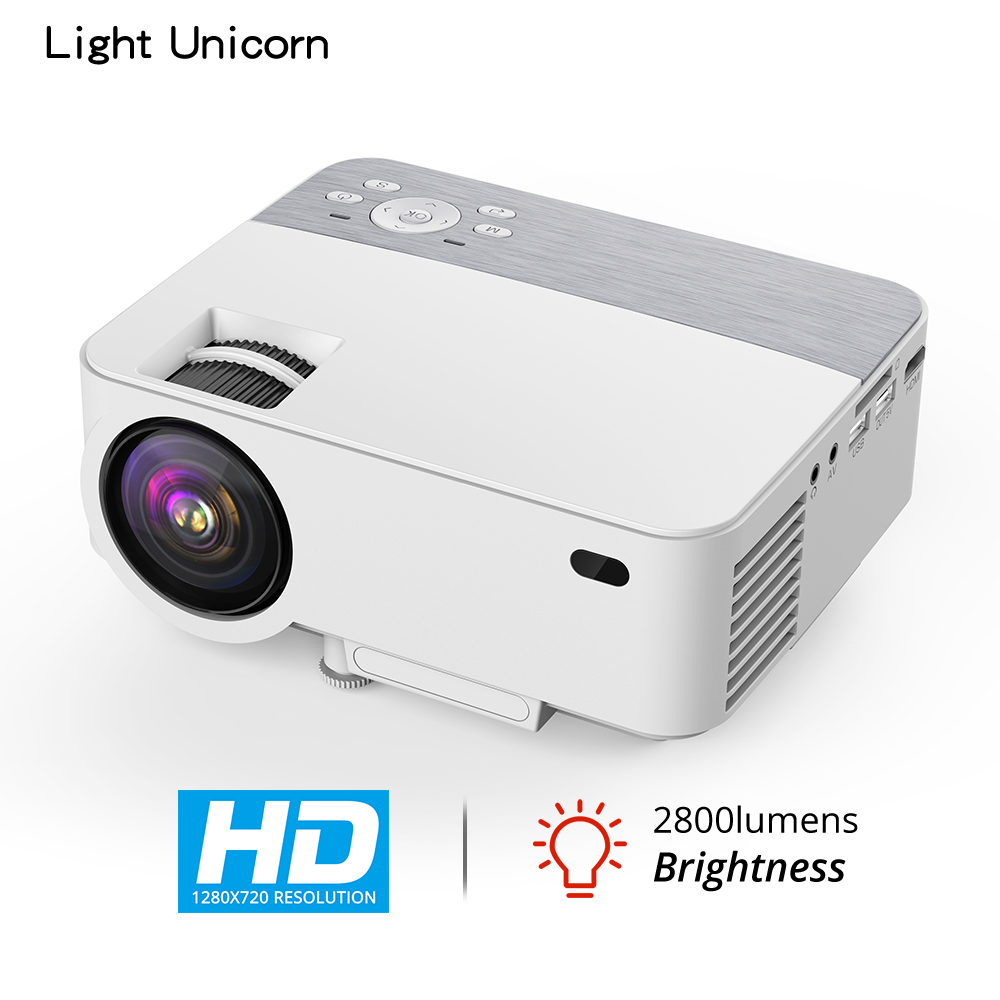 Proyector de luz unicornio T1 home theater MINI LED soporte full HD video marca proyector portátil LCD HDMI 2800 lúmenes 1280x720p
