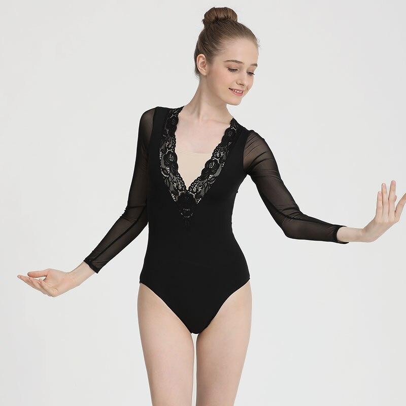 Ballerina Ballet Leotards For Women Black Deep V-neck Lace Gymnastics Practice Leotards Adult Long Sleeve Leotard