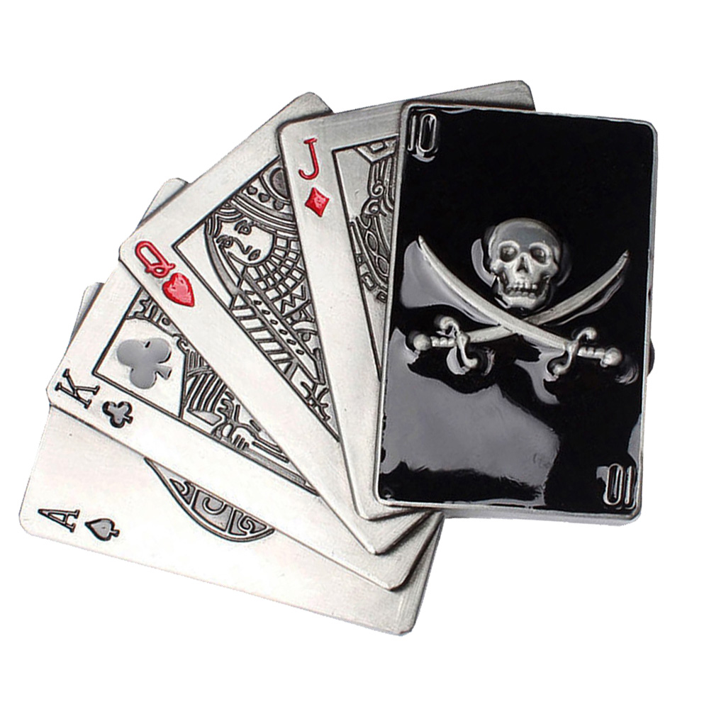 Western Men's Alloy Poker Card Skull Head Belt Buckle For Jean Accessories
