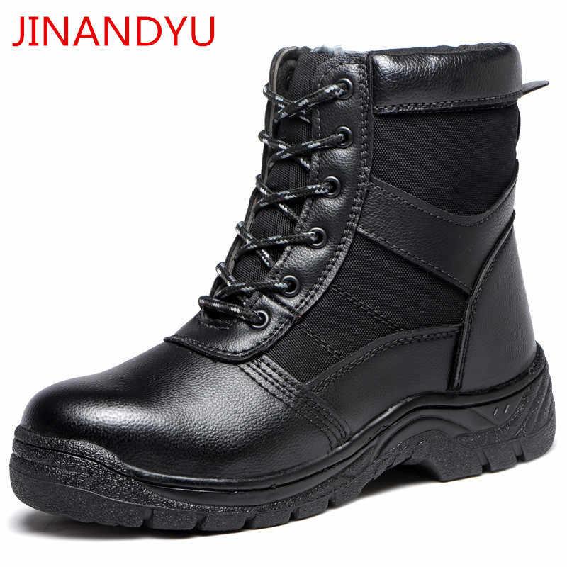 Hiver en plein air chaud acier orteil chaussures de sécurité bottes de neige hommes chaussures Anti-fracassant Anti-piercing travail chaussures en cuir bottes hommes