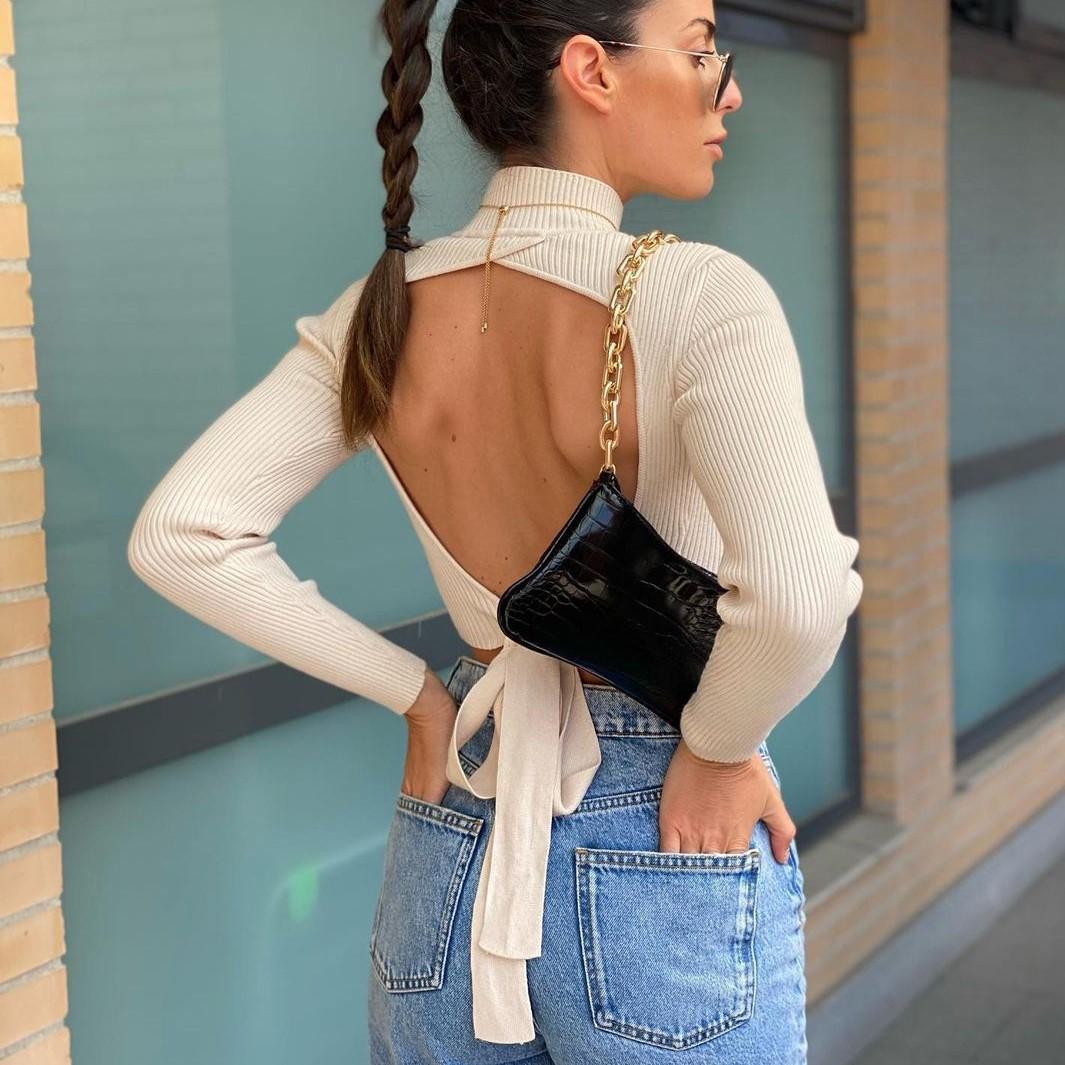 Сексуальный Боди со шнуровкой и вырезом на спине трикотажные укороченные топы свитер Трикотажная хлопковая футболка с высоким, плотно обле...
