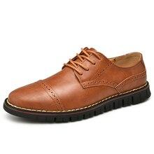 Genuine leather shoes men casual shoes Handmade men leather shoes Male Footwear Brogues men shoes zapatos de hombre size 38 48