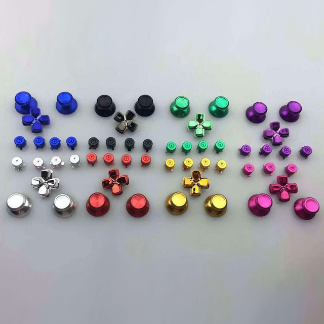 Metal Analog Joystick ThumbStick Grip Caps+Dpad Action D Pad Buttons for Sony Playstation Dualshock 4 PS4 DS4 Gamepad