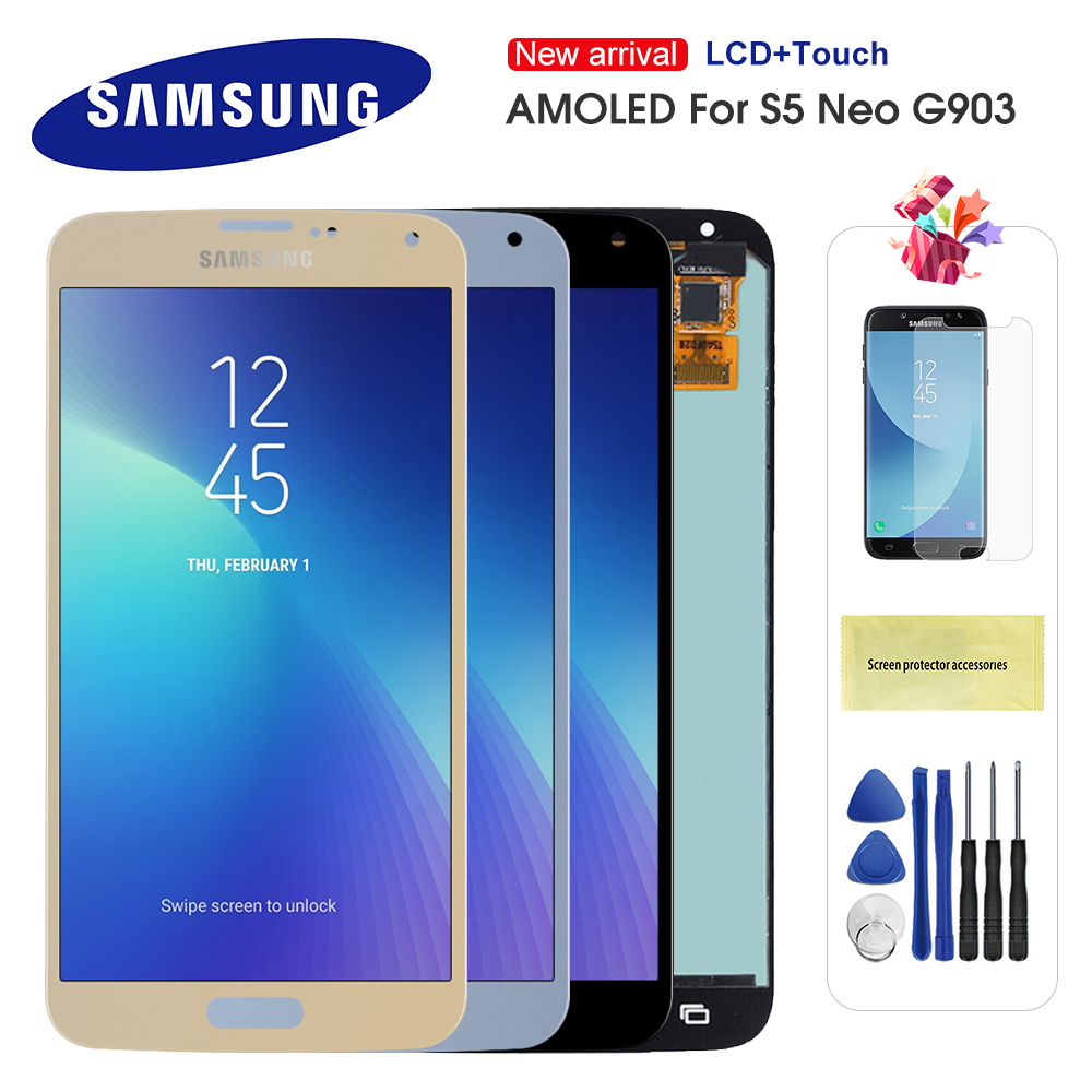 Super AMOLED For Samsung Galaxy S5 NEO LCD SM-G903M G903 G903F G903M Display Touch Screen Digitizer Assembly For S5 S5 neo lcd(China)