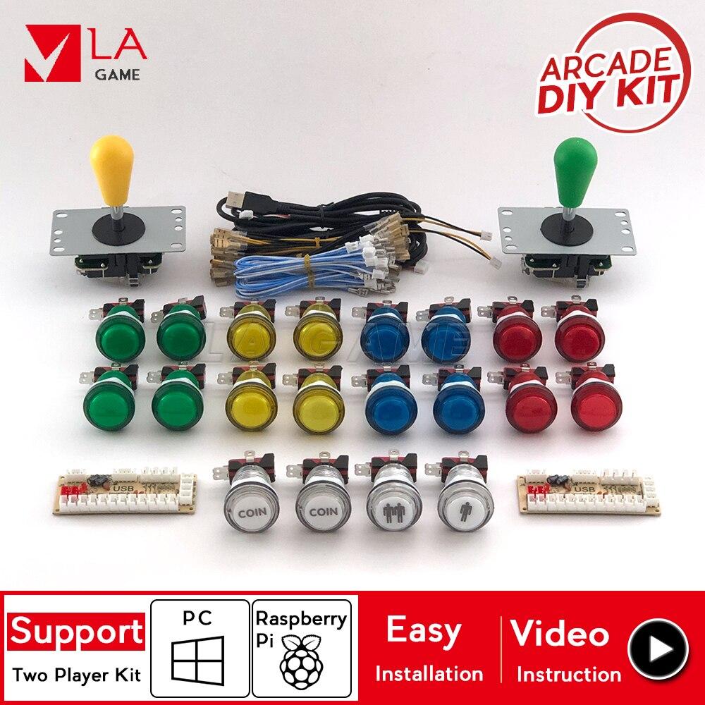 arcade diy kit for 2 player USB Encoder to PC Rasberry Pi arcade cabinet diy kit led push buttons 5 pin 8 way joystick