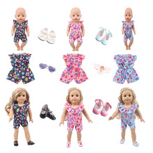 New American dolls one-piece clothes with doll accessories shoes Glasses for 18-inch and 43cm dolls, generations, gifts