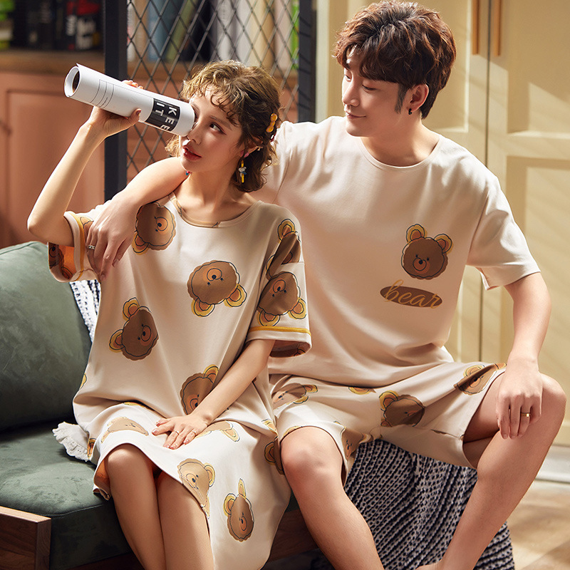 Full Cotton Pajama Sets Couple Comfortable Animal Nightshirt 100% Cotton Nightgowns Summer Ladies XXXL Large Size Pajamas Sets