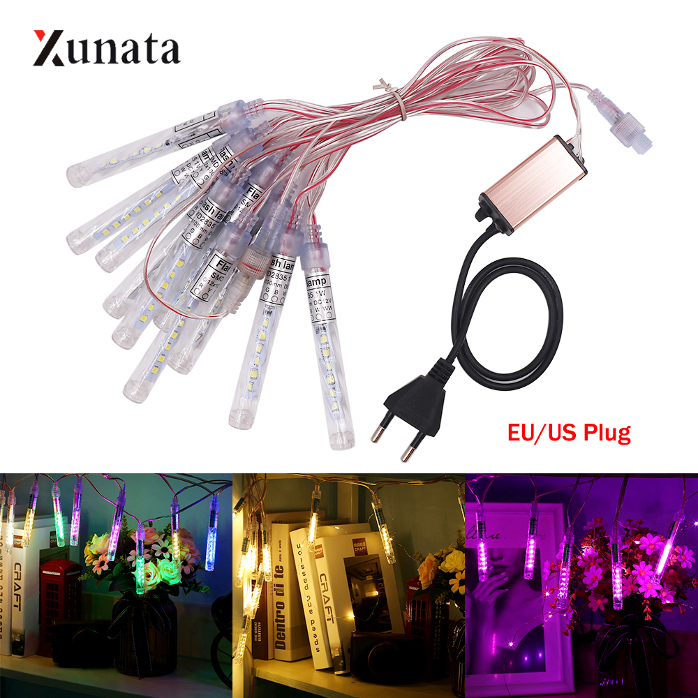 10 Tubes 10cm Waterproof Meteor Shower Rain Tubes Led Light Lamp AC85-220V EU/US Plug Christmas Light Wedding Garden Decoration