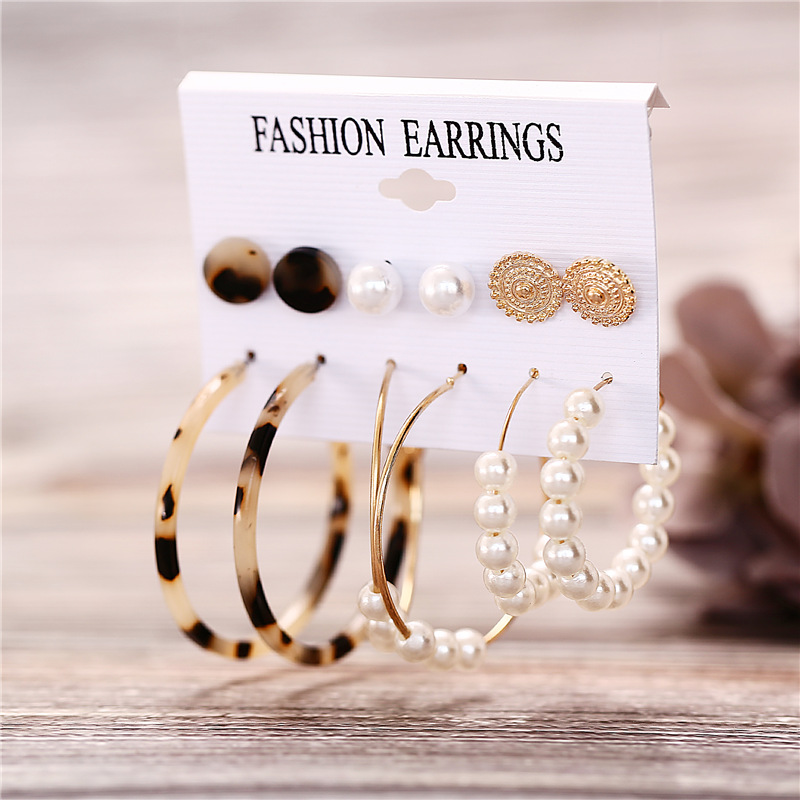 H4814d5fa9c5343ecab60674532692fb1s - IF ME Fashion Vintage Gold Pearl Round Circle Drop Earrings Set For Women Girl Large Acrylic Tortoise shell Dangle Ear Jewelry