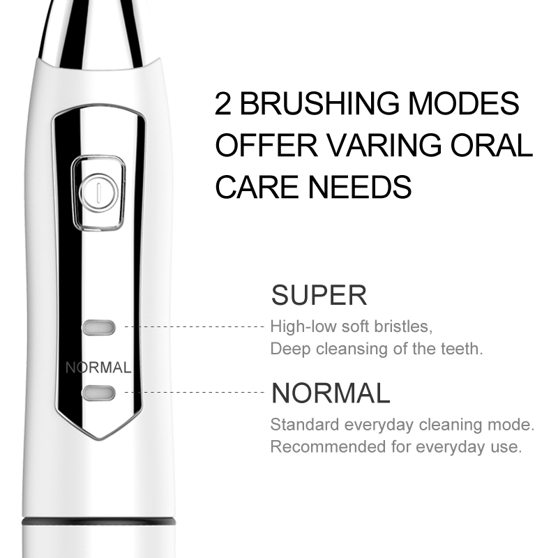 SEAGO Electric Toothbrush Sonic Adult Battery Teeth brush holder with 3 Replacement Brush Heads Waterproof Smart time SG910 Gift