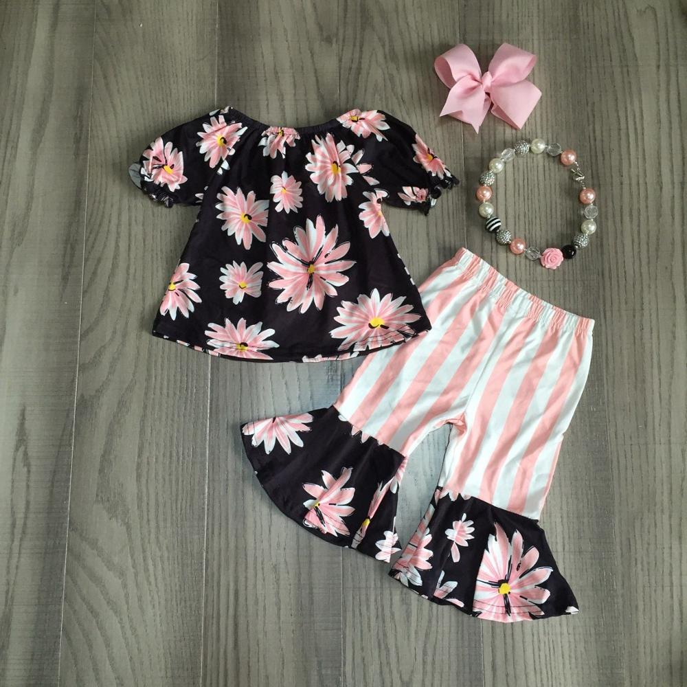 baby Girl girls summer outfits floral shirt with stripe pink bell bottom pant girls outfits with accessories