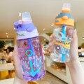 Детская Бутылочка для питья для детского сада, соломенная чашка для маленького мальчика, креативные пластиковые бутылки из утиного клюва, м...