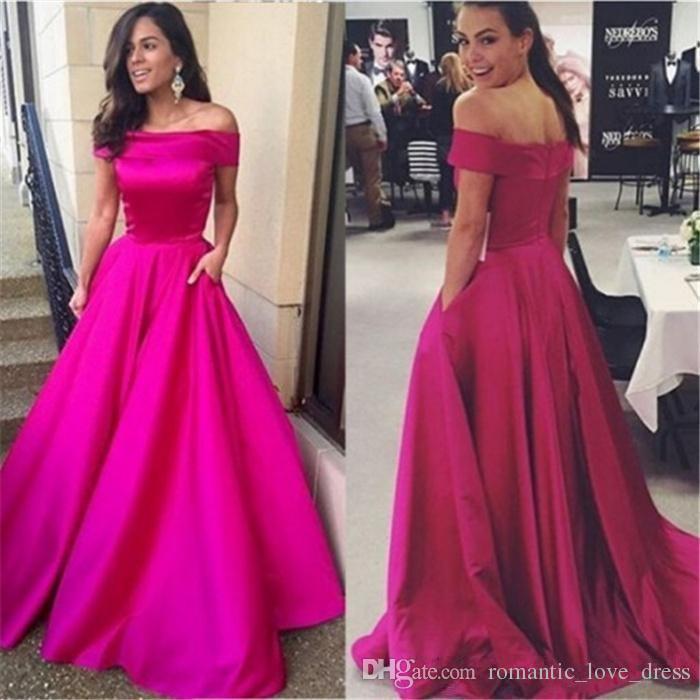 Купить с кэшбэком Off the shoulder Fuchsia Evening Dress With Pocket 2019 robe de soiree abiye Simple Style A-Line Satin Formal Prom Party Gown