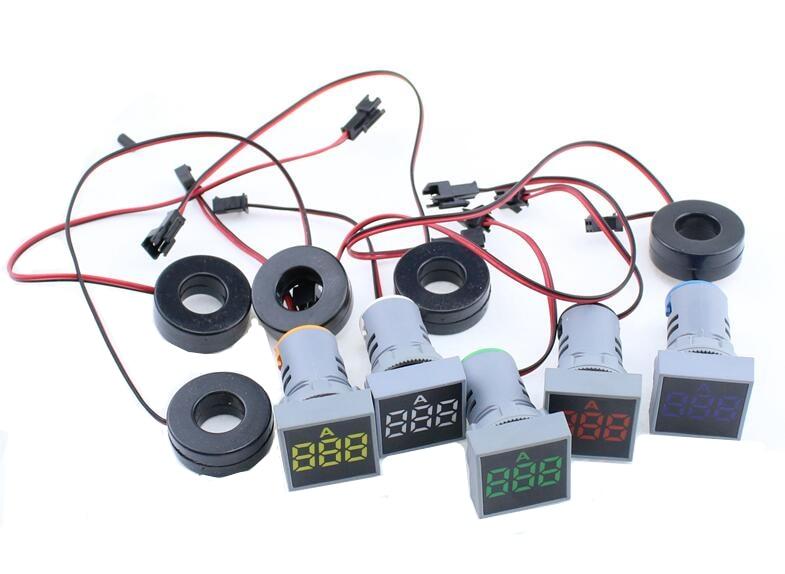 22MM AC  Voltmeter 0-100A Ampere Square Panel LED Digital Voltage Meter Indicator Light