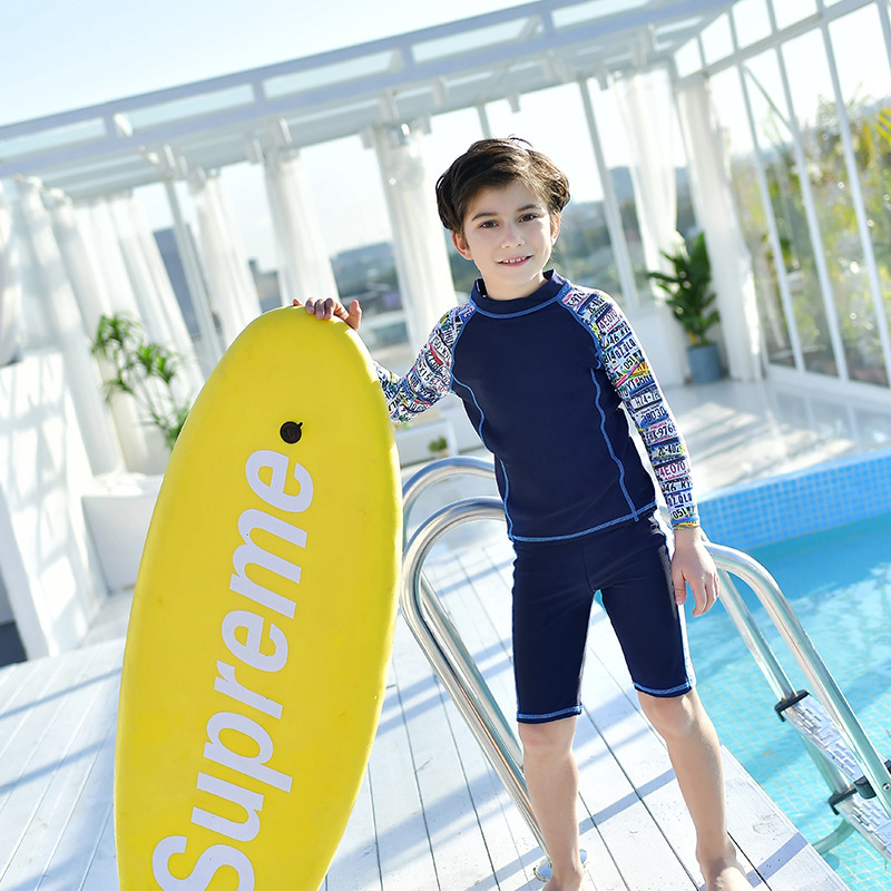 18 New Style Hot Sales Two-piece Swimsuits Small Stand Collar Athletic Send Swimming Cap Long Sleeve Quick-Dry Ultra-stretch BOY