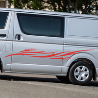 car stickers 2 PC side door Fire pattern graphic Vinyl car sticker for hiace 2015 2016 2017 2018 2019