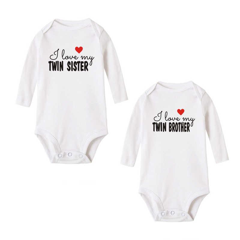 Я люблю своего близнец, сестра-близнец, Новорожденный ребенок, мальчики, девочки, тело, хлопок, милый ребенок, близнецы, длинный рукав, боди, костюмы