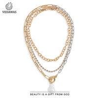 Vedawas Gold Silber Farbe Zwei Ton Spleißen Metall Kette Halskette Für Frauen 2020 Weiß Unregelmäßige Perle Anhänger Halskette Schmuck