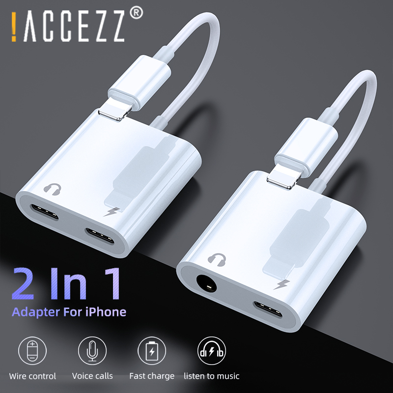 !ACCEZZ Dual Lighting Audio Adapter For IPhone XS MAX XR X 8 Plus 3.5mm Jack Earphone Charging Aux 2 In 1 Splitter For IOS 11 12