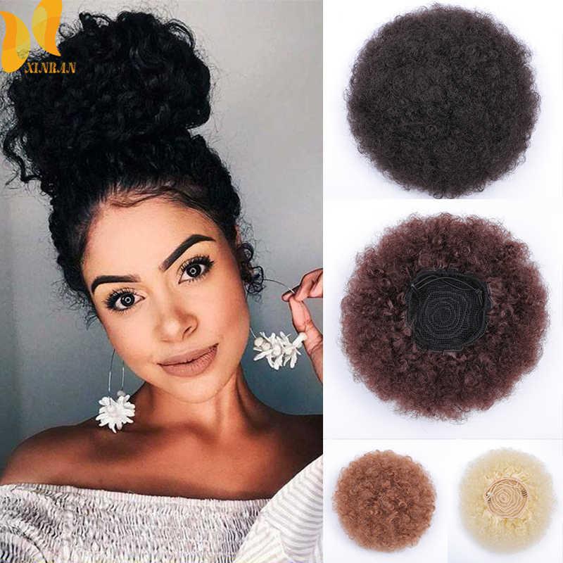 XINRAN sintético Afro Puff rizado extensión del pelo Accesorio con Clips en para niña y mujer elástica Afro moño para el pelo de extensión