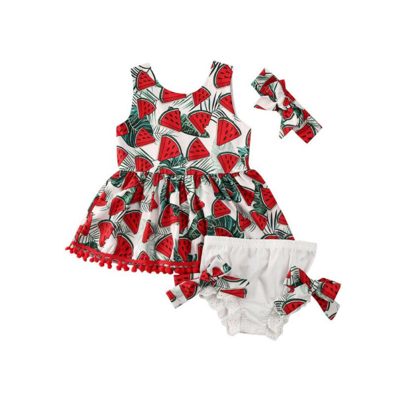 3PCS Kids Baby Girl Watermelon Print Tassel Tops+Bowknot Shorts+Headband Clothes Set Summer 0-4Years